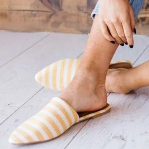 Shoes - Yellow & Off-White Striped Slip on | Mule | Flat